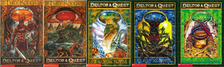The first five books of Deltora Quest: The Forests of Silence, The Lake of Tears, City of Rats, The Shifting Sands, Dread Mountain.